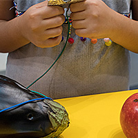 Child making battery out of apple and eggplant